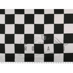 Raso di poliestere, a quadri scacchiera, nero-bianco
